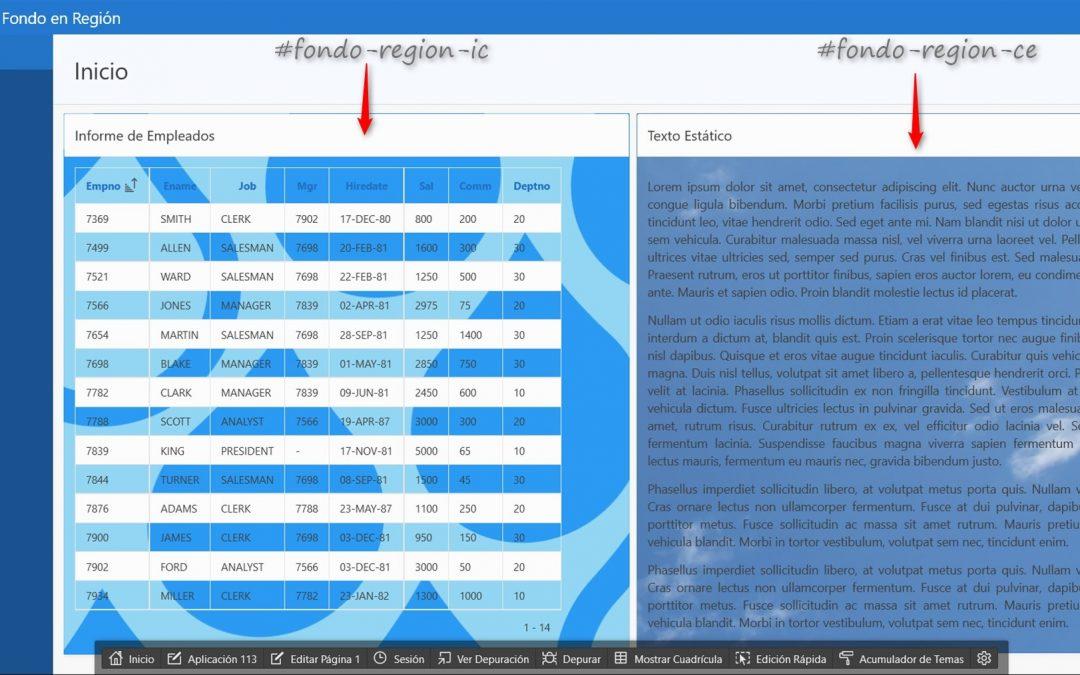 Cómo Mostrar Imágenes de Fondo en Diferentes Regiones en Oracle APEX 5.0