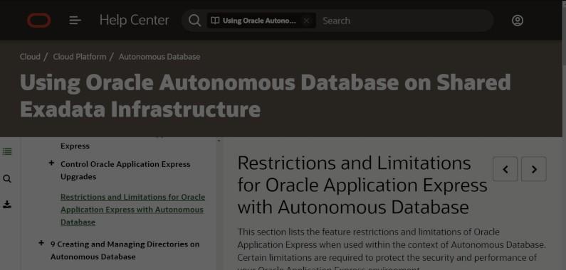 Restricciones y limitaciones para APEX con Procesamiento de Transacciones Autónomo