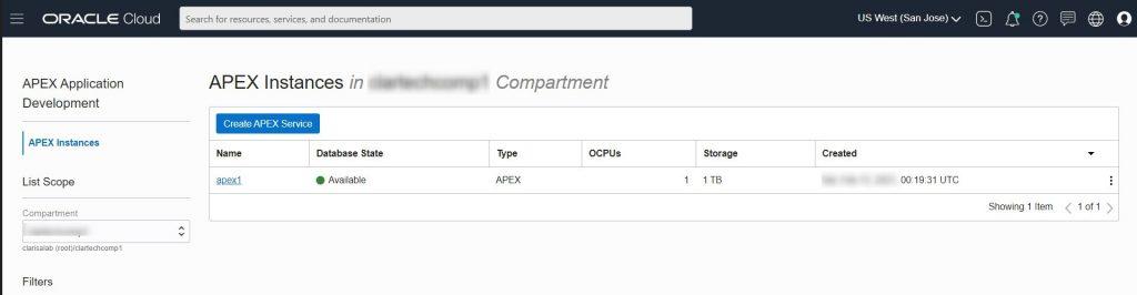 Desde la nube de Oracle, estamos en el dashboard del servicio APEX Application Development.